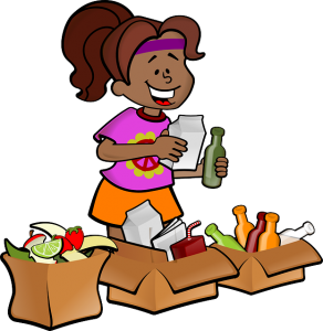 A girl is separating items.