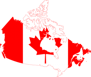 Canada map and flag.