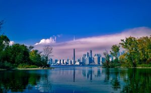 the skyline of Toronto, Canada, from across the lake