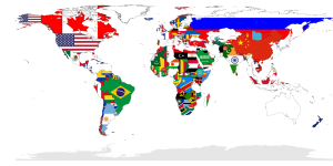 The world map with the countries' flags.