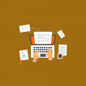 An illustration of a person using a laptop and making notes.