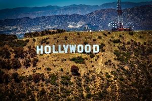 The Hollywood sign in LA, one of the cities people often choose to live when moving to the US.