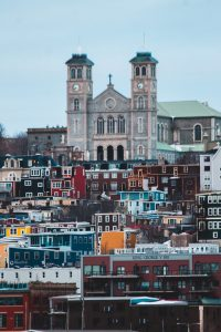 There are beautiful colorful buildings of St. John's, one of the most attractive cities in Canada for families with kids.