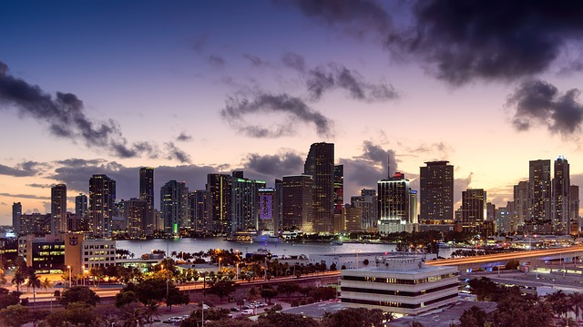 Miami City at sunset is why Canadians love vacationing in Florida.