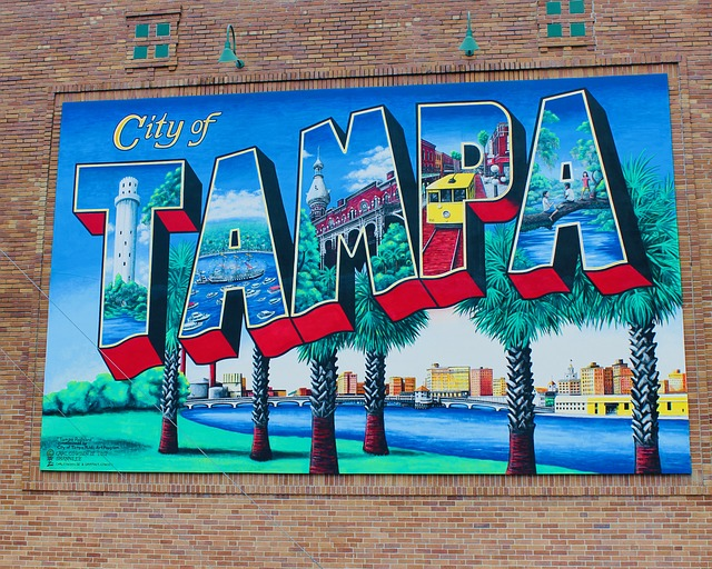Tampa Sign colored in different colors.