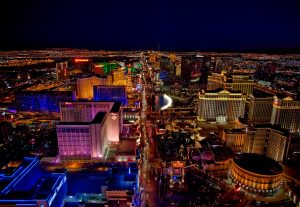 The night view of Las Vegas, one of the best Nevada cities for ex-pats.