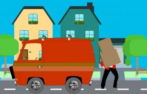 An illustration of a mover loading a moving truck.